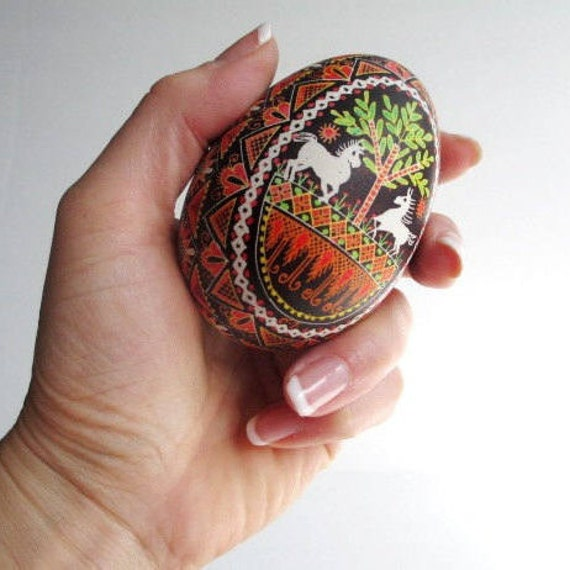 Ornament with horses Goose egg pysanka hand painted Ukrainian Easter eggs gift for newly engaged couple two hearts in love run free and wild