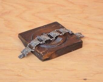 Vintage Mexican Silver Large Square Floral Hinge Bracelet