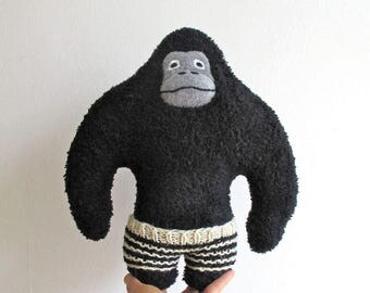 Gorilla, organic, plush, black, white, stripe, monochrome, soft, ape, primate, big