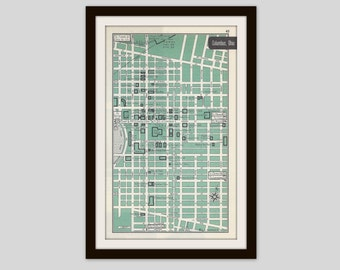 Columbus Ohio, City Map, Street Map, 1950s, Green, Black and White, Retro Map Decor, City Street Grid, Historic Map