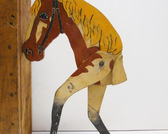Vintage wood horse stick toy Brown & white paint Primitive folk art rustic moving legs equestrian toy