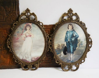 two vintage oval frames w glass baroque brass metal ornate large ovals matching pair blue boy victorian girl 12 x 17
