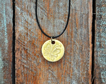 Ceramic Pendant Necklace Rustic Jewelry Butterfly Design Necklace
