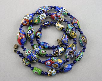 Vintage Art Deco Venetian Murano Millefiori Glass Beads Necklace