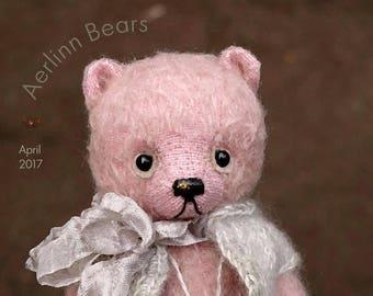 April, OOAK  Pink Mohair Artist Teddy Bear  from Aerlinn Bears