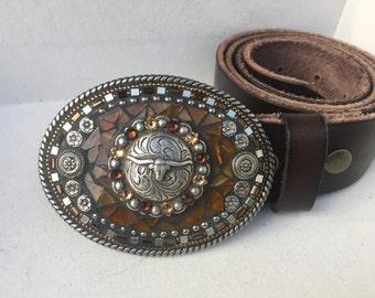 Longhorn Belt, Leather Belt, Western Belt Buckle, Custom Belt Buckle, Belts for Women, Gift for Cowgirl, Mosaic Belt Buckle, Handmade in USA