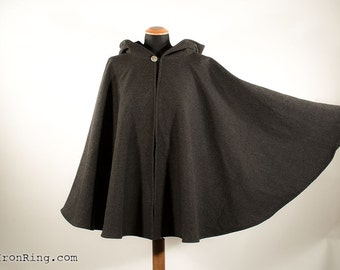 Woolen hooded cape cloak fantasy medieval renaissance, unisex, steampunk,larp, custom made