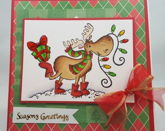 Moosey Christmas - Blank NoteCard, Greetings Card, Handmade Card