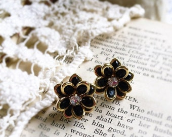 On Sale Night Bloom, Golden Framed Black Flowers with Clear Rhinestones Post Earrings by Hollywood Hillbilly