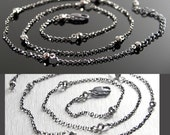 Dainty Crystal Necklace, Dark Sterling Silver Layering Necklace, Metallic Gray Crystal, Gunmetal Chain Beaded Necklace, Simple Jewelry