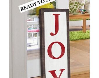 JOY Christmas Sign |Typography Word Art | Wood Sign| Framed Sign | Christmas Decor| Wood Christmas Sign