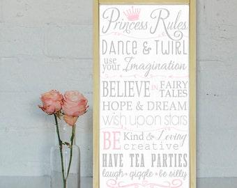 Princess Rules Sign| Princess Wall Art |Typography Word Art| Nursery Sign| Little Girls Room | Playroom Sign |