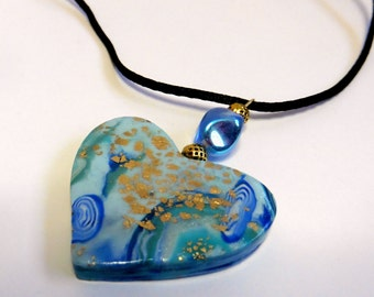 Heart Pendant Heart Necklace Blue Heart Pendant Blue Heart Necklace Valentine's Day Pendant