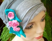 Womens Chemo Hat Chemo Headwear soft Flapper light grey Chemotherapy Alopecia Beanie with detachable Flowers