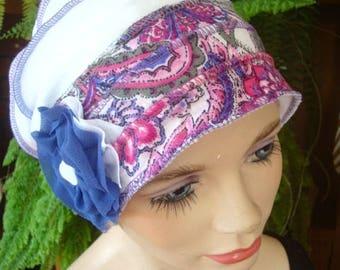 Womens Hats for Chemo headwear summer Hairloss Headwear Hat  Flapper  Cloche pink white  paisley Beanie