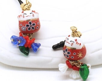 Red Maneki Neko Lucky Cat - Phone Charm / Zipper Pull, Czech Glass Flowers in Reds and Sapphire or Red and White with an Emerald Leaf