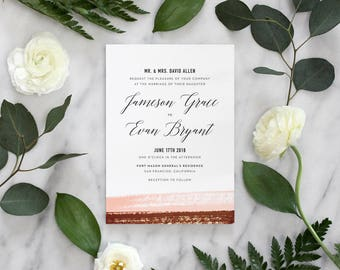 Watercolor Wedding Invitation, Modern Wedding Invites, Boho Wedding Invitation, Wedding Invites, Blush and Copper