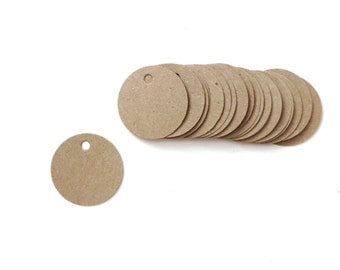 50 Mini Kraft Paper Tags Circle Blank