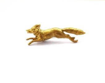 Fox Pin Rustic Tie Tack Gold Brooch Lapel Forest Animal Nature Woodland Wedding Accessories Groomsmen Mens Womens Gift Easter Spring Garden