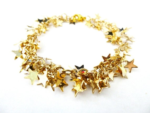 Gold Star Bracelet Galaxy Jewelry Celestial Charm Stardust Cosmos Constellations Delicate Dainty Minimalist Minimal Womens Gift For Her