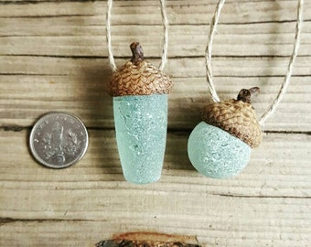 ACORN PAIR - © Scottish Beach Finds - Stopper Stem - Codd Ball - Christmas Decoration - Eco Friendly - Handmade (codd pair)