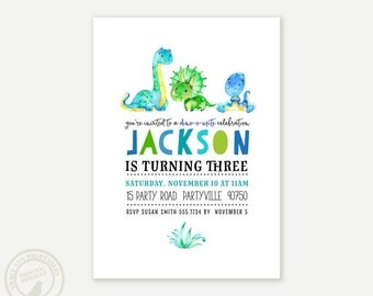 Dinosaur Birthday Invitation | 3rd Birthday Dinosaur Party | 2nd Birthday, Prehistoric Party, Digital Invitation | Printable 1060
