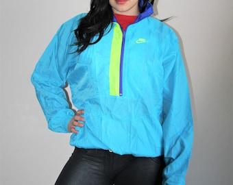 90s Vintage Nike Neon Colorblock Hip Hop Windbreaker Jacket - 1990s Nike - 90s Clothing - WV0060