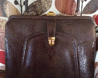 Vintage 1950s 50s Handbag Purse Large Size Brown Embossed Vinyl Non Leather Vegan Kelly Style