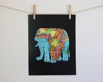 African Elephant Map Art // Papercut Art Print // 11x14 Poster