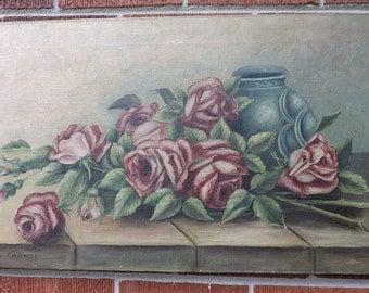 Antique Victorian EDWARDIAN Purple BURGUNDY White ROSES Foliage Blue Vase oil on Canvas Painting c1900s