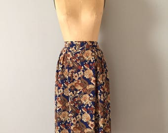 paisley midi skirt || pleated paisley and ornament flower skirt