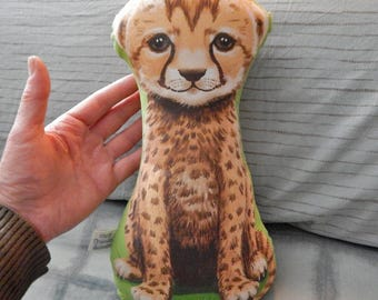 NEW - Two Sided Cheetah Cub Stuffed Toy Pillow