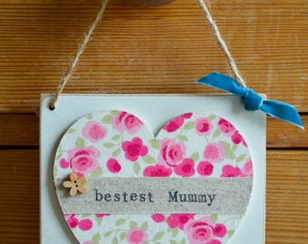 Mother's Day heart gift, 1st Mother's Day, Mother's Day personalised heart present, Happy Mother's Day, Mummy's Day hangy