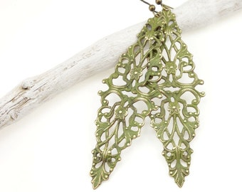 Boho Olive Filigree Earrings Olivine Green Cottage Chic Distressed Antique Brass Vintage Style Weathered Sage Lime Chartreuse Tall Long