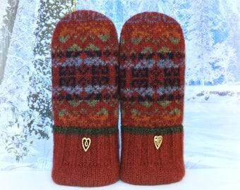 Maroon Fair Isle 100% Wool Recycled Women's Sweater Mittens