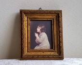 Vintage Praying Child Religious Art Print in Beveled Gold Gilt Wood Frame, Made in Italy