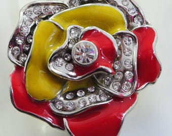 Colorful Statement Flower Ring/Rhinestone/Red/Mustard/Gift For Her/Multicolor/Adjustable/Under 20 USD