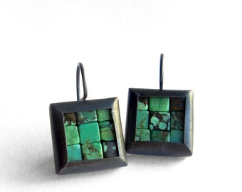 Mosaic Earrings - Turquoise Silver Earrings - Square Earrings - Turquoise Earrings - Blue Earrings - Mosaic Jewelry - French Wire Earrings