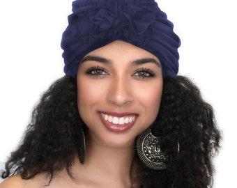 Navy Blue Flower Turban, Chemo Hat, Sleep Hat, Alopecia Cap,  Rayon Knit, Pretied Turban 300-42