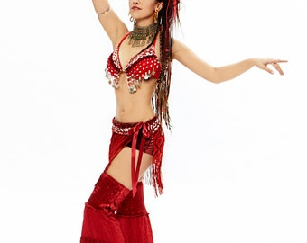 Red Belly Dance Outfit,Carnaval Costume,Burning Man Costume, Dance Costume,Burlesque,Cosplay,Tribal Goddess,Gypsy,Womens Festival Clothing