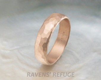 men's wedding band -- rustic rose gold wedding ring -- 6mm wide, organic & rugged, hand hammered low dome band