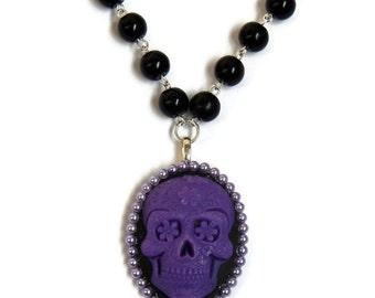 Purple Sugar Skull Necklace, Black Beaded, Day of the Dead, Dia de los Muertos, Spooky, Halloween, Rockabilly Beaded necklace