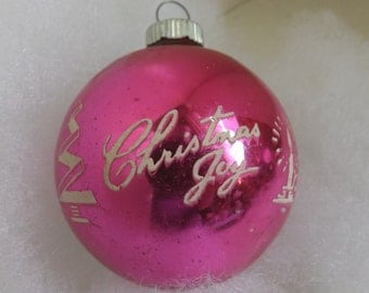 Vintage Shiny Brite pink stencil ornament Christmas Joy mid century modern mcm tree and candle