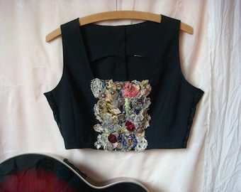 trinity - a short black boho gypsy waistcoat embellished and embroidered with vintage lace