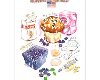 Blueberry muffin recipe print in french, Kitchen wall decor, Home decor, Cake poster, Food art, Watercolor painting, Illustrated recipe art