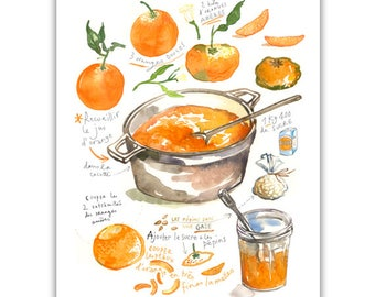 Orange marmalade recipe poster, Kitchen print, Food art, Watercolor fruits, Home decor, Orange Jam illustrated recipe print, Fruit painting