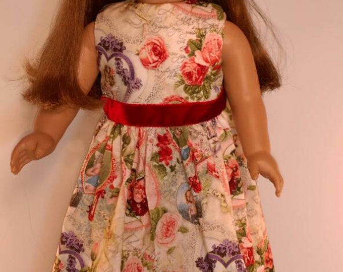 vintage print Valentines and hearts with flowers dress fits 18 inch doll