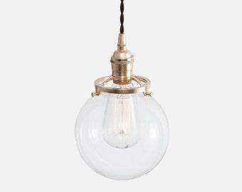 Glass Globe Pendant Light - Raw Brass - Glass Pendant Lighting - Kitchen Light - Plug In Pendant Light Kit or Hardwire w/ Ceiling Canopy Kit