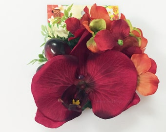 Classic Tiki Red Orchid Hair Clip