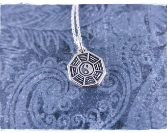 Silver Bagua Necklace - Sterling Silver Bagua Charm on a Delicate Sterling Silver Cable Chain or Charm Only